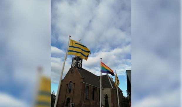 <p>De regenboogvlag.</p>