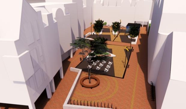 <p>Art-impressie gezien vanaf de Dorpsstraat, met twee terrassen en ruimte voor kinderen.</p>