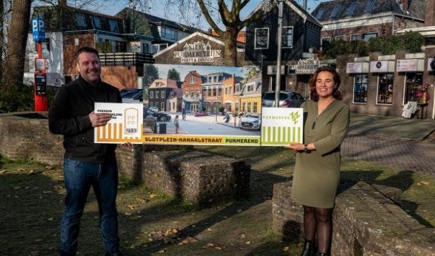 <p>Wethouder Eveline Tijmstra en Stephan van Bruin tonen het plan.</p>