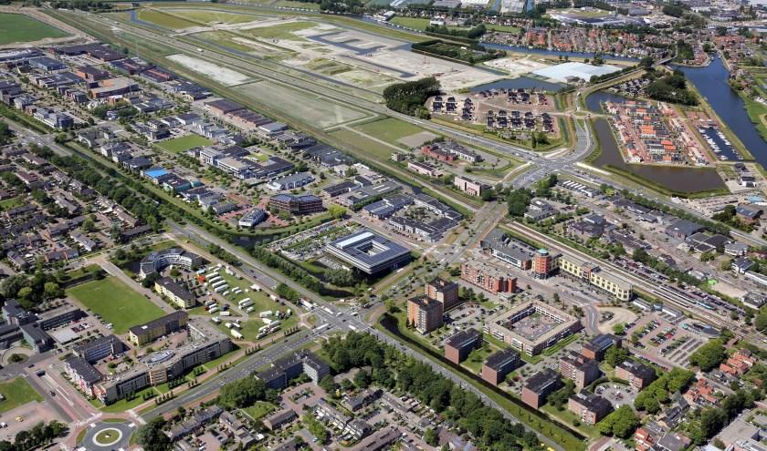 Het stationsgebied gezien vanaf de lucht.
