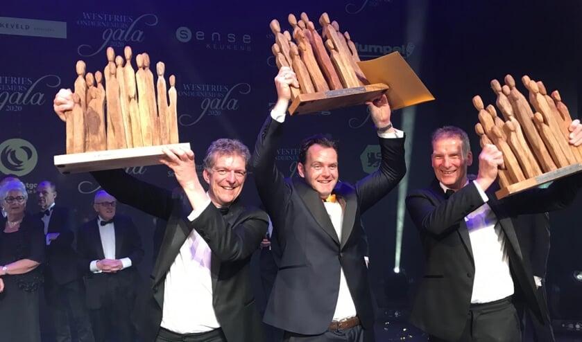 De drie winnaars van de de Westfriese Ondernemersprijzen.