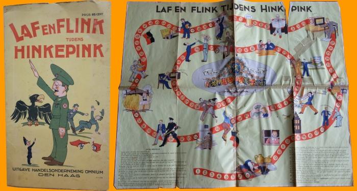 Uit eigen collectie museum: Het spel is in '45 of '46 uitgegeven. Het is een Satire over Arthur Seyss-Inquart de Rijkscommissaris van Nederland in 40-45. De naam 'Hinkepink' verwijst spottend naar zijn handicap.
