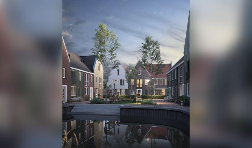 Een artist impressie van hoe de nieuwe Westzaanse wijk eruit komt te zien.