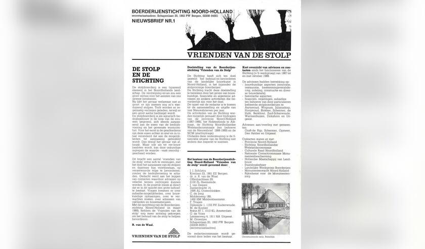 1e cover van het tijdschrift Vrienden van de Stolp.