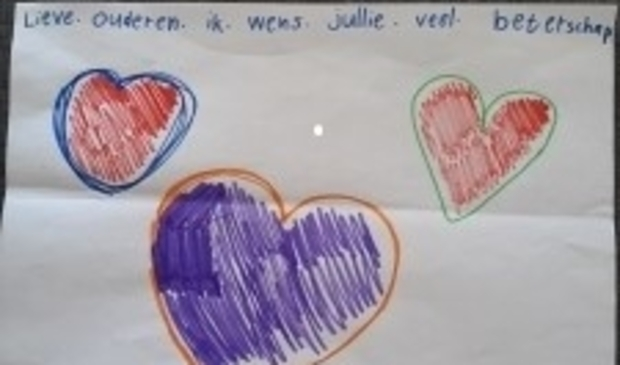 Een van de tekeningen die kinderen hebben gemaakt,