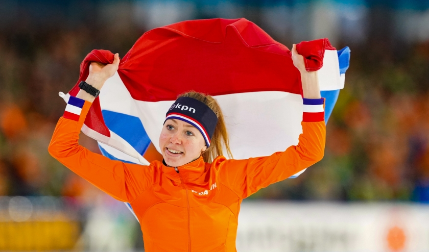 Heerenveen-EK Afstanden  3000 mtr.  Foto; Esmee Visser wint de 3000 mtr.