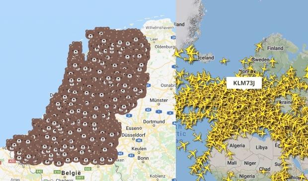 Beren na de semi-lockdown en vluchten boven Europa voor de wereldwijde lockdown.