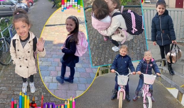 Cailey (l), Noa, Joya (r) en Lieke en Sanne zijn blij. Ze mogen weer naar school!
