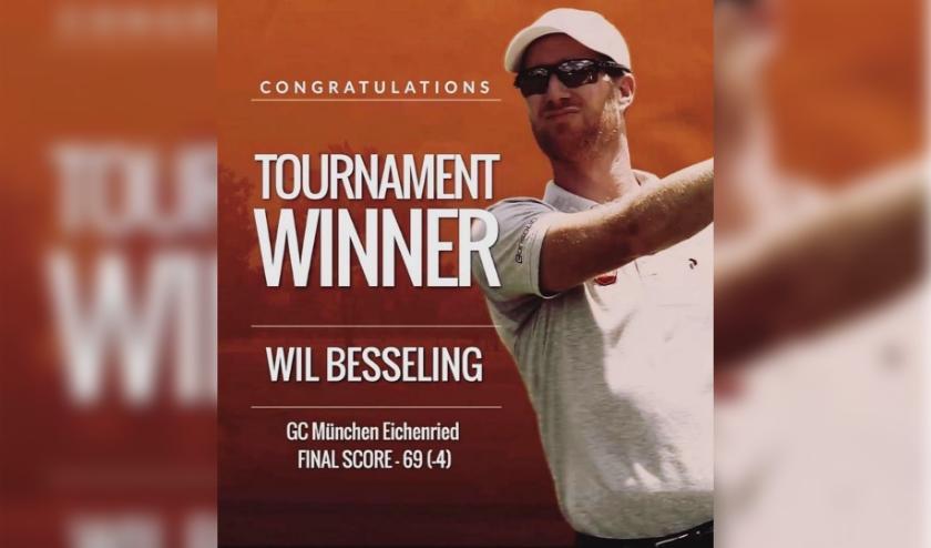 De European Tour presenteert Wil Besseling als winnaar van de BMW Invitational op Eichenried.