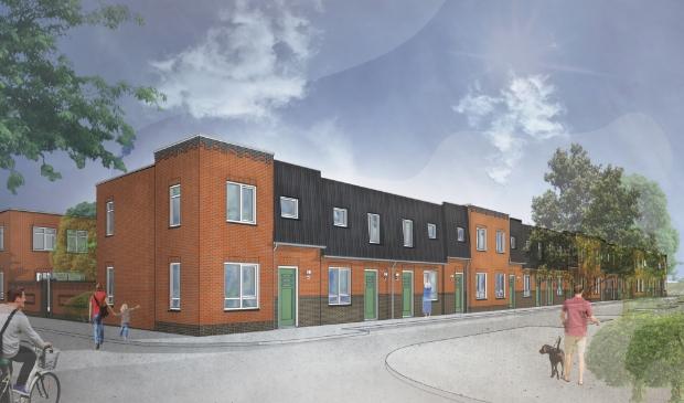 Artist impression van de nieuwbouwwoningen in de Belgischestraat en Kramerstraat.