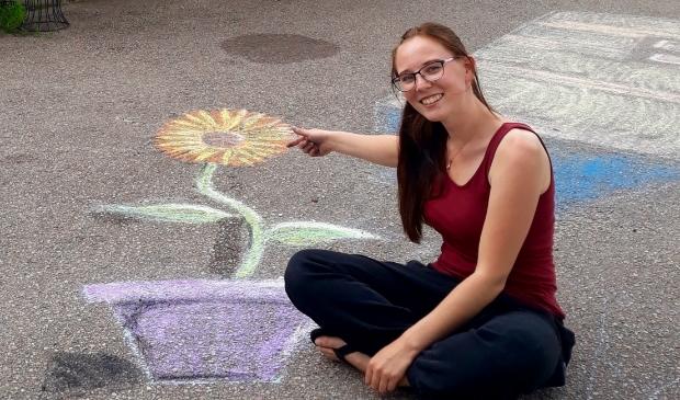 Vijf deelnemers waagden zich aan een workshop 3D straattekenen.