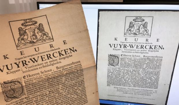 Een verordening over vuurwerk (1695), met de scan.