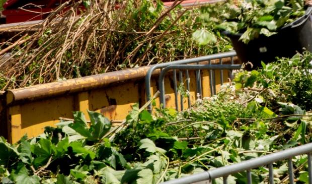 Snoeiafval bij het afvalbrengstation.