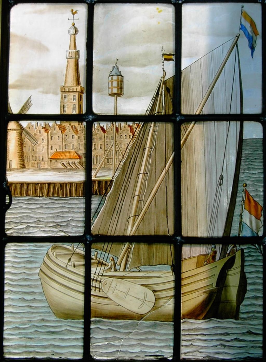 Een lichterschip nadert zijn thuishaven Medemblik. Detail van een gebrandschilderd raam in de Bonifaciuskerk dat in 1671 door het Rijnschippersgilde werd geschonken. (Foto: Beeldbank Westfries Archief) © rodi