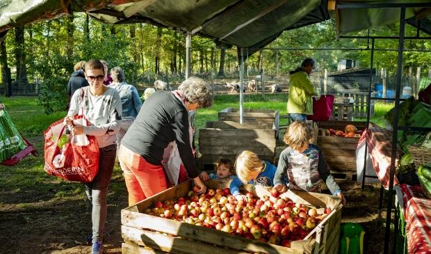 De wekelijkse uitlevering van groente en fruit.