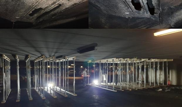 De schade aan het plafond van niveau -2 en de onderstempeling plafond niveau -2.