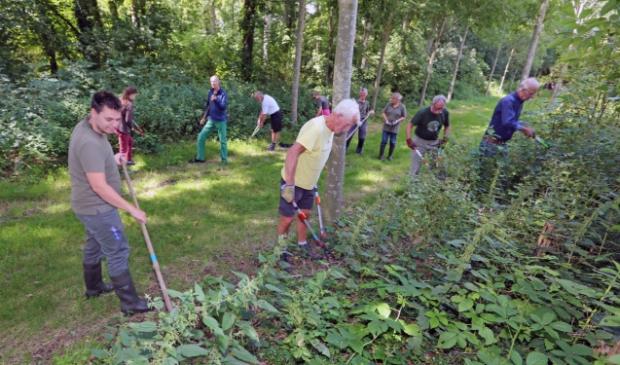 De Hoeders druk in de weer met het verwijderen van onkruid rondom Huis Nijenburg.
