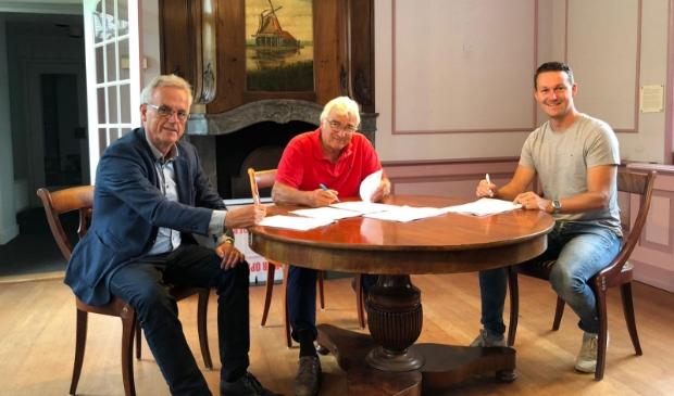 De ondertekening van de koopovereenkomst.