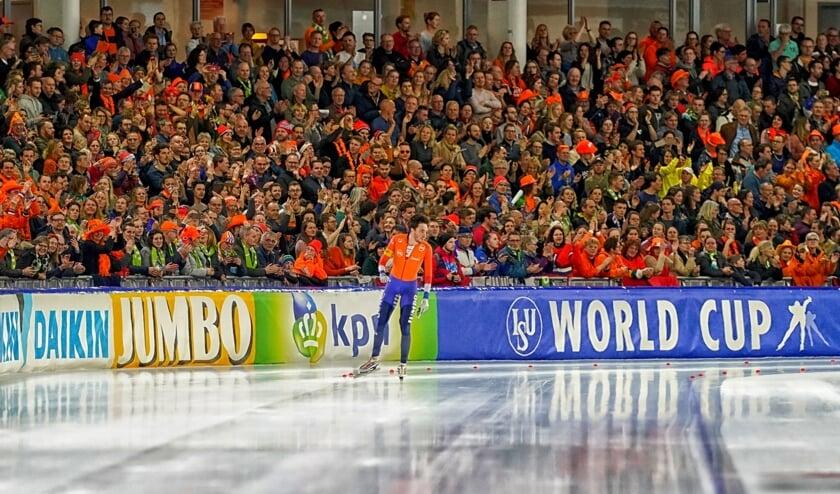 Patrick Roest tijdens de World Cup Finale 2020 in Thialf