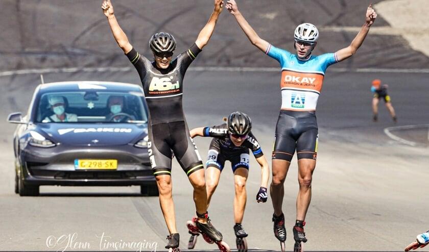 Manon en Jordy winnen het NK Inline op het circuit van Zandvoort