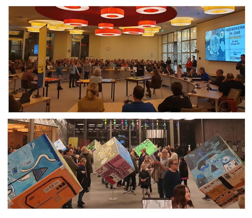 """<p pstyle=""""PLAT"""">Presentatie van de kinderen in de gemeenteraad bij de opening van &lsquo;Heemskerk in 2040&rsquo;.</p> (Foto: Aangeleverd) © rodi"""