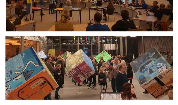 """<p pstyle=""""PLAT"""">Presentatie van de kinderen in de gemeenteraad bij de opening van &lsquo;Heemskerk in 2040&rsquo;.</p>"""