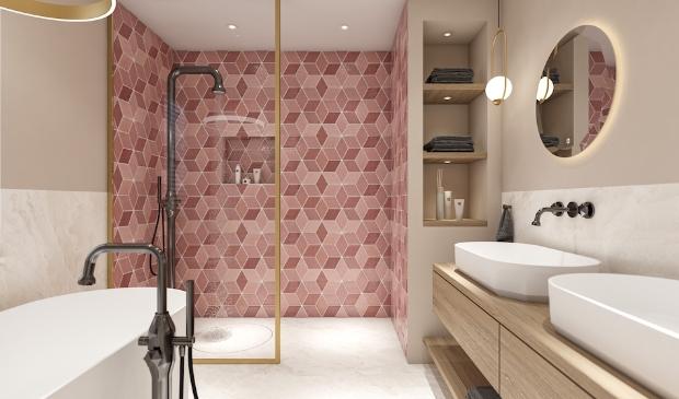 <p>badkamer met luxe materialen</p>