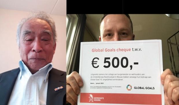 <p>Links de heer Palyama van Initiatiefgroep Nootmuskaat in Nieuwe Zakken en rechts wethouder Bashara met de Global Goals-cheque.</p>