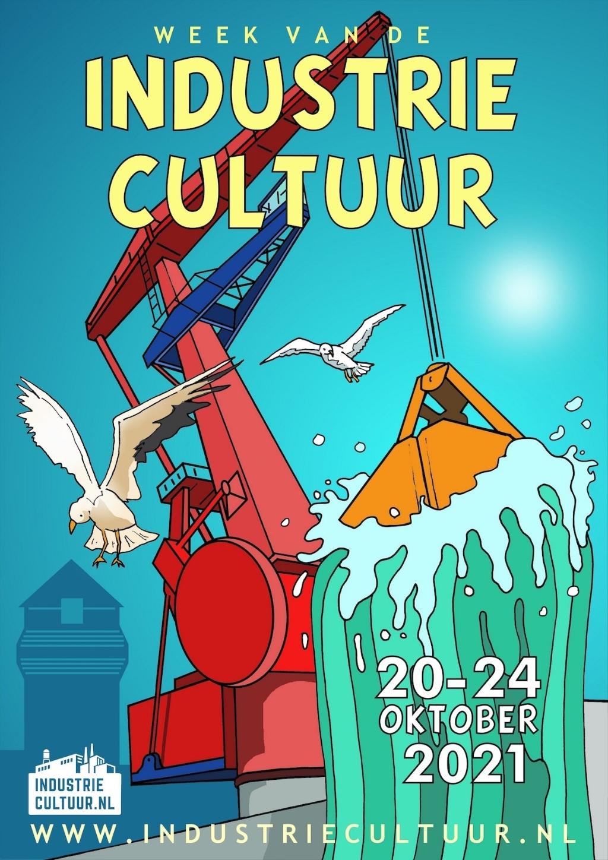 Illustrator Eric Coolen maakte deze poster voor de Week van de Industriecultuur met een heldere knipoog naar de 'klare lijn' van Kuifje tekenaar Hergé.  ((Foto: aangeleverd)) © rodi