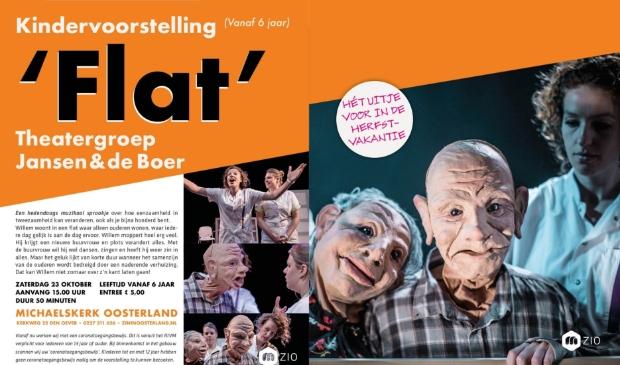 """<p pstyle=""""KOP"""">De voorstelling &lsquo;FLAT&rsquo; op zaterdag 16 oktober wordt verzorgd door theatergroep Jansen & de Boer.</p>"""