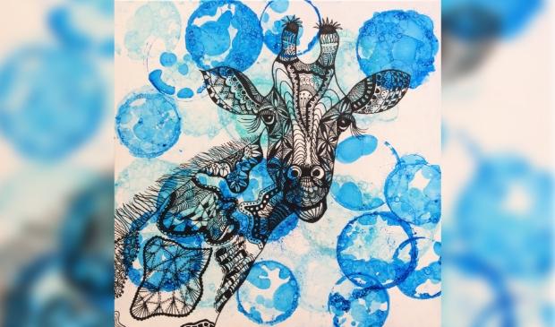 <p>Zentangle schilderij van Mieke Rozing.</p>
