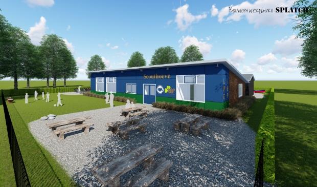 <p>Een artist impression van het nieuwe clubhuis.</p>