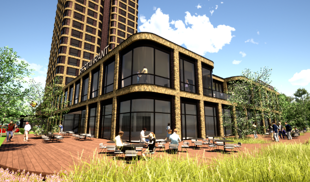 <p>Nieuw ontwerp van het beoogde hotel.</p>