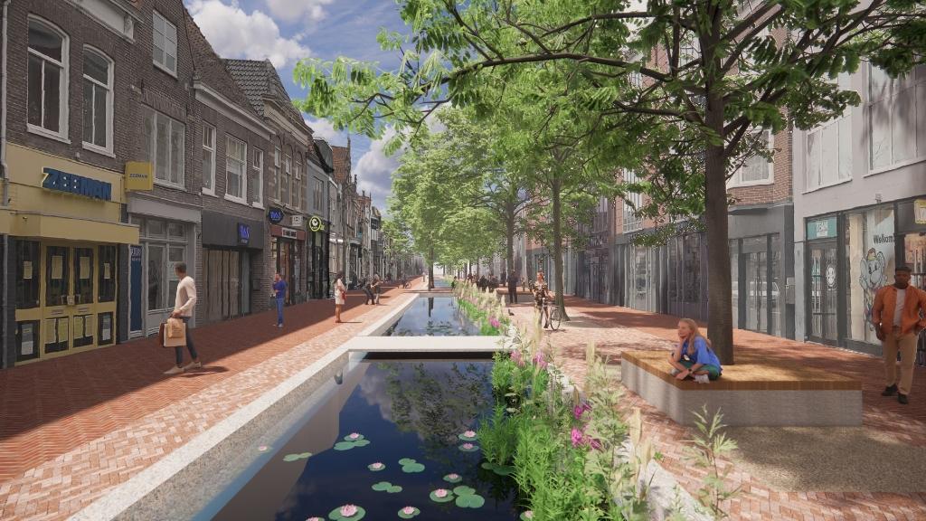 Visual van de herinrichtingsplannen voor De Laat West, model 1 (water), voetgangersgebied. ((Foto: aangeleverd)) © rodi