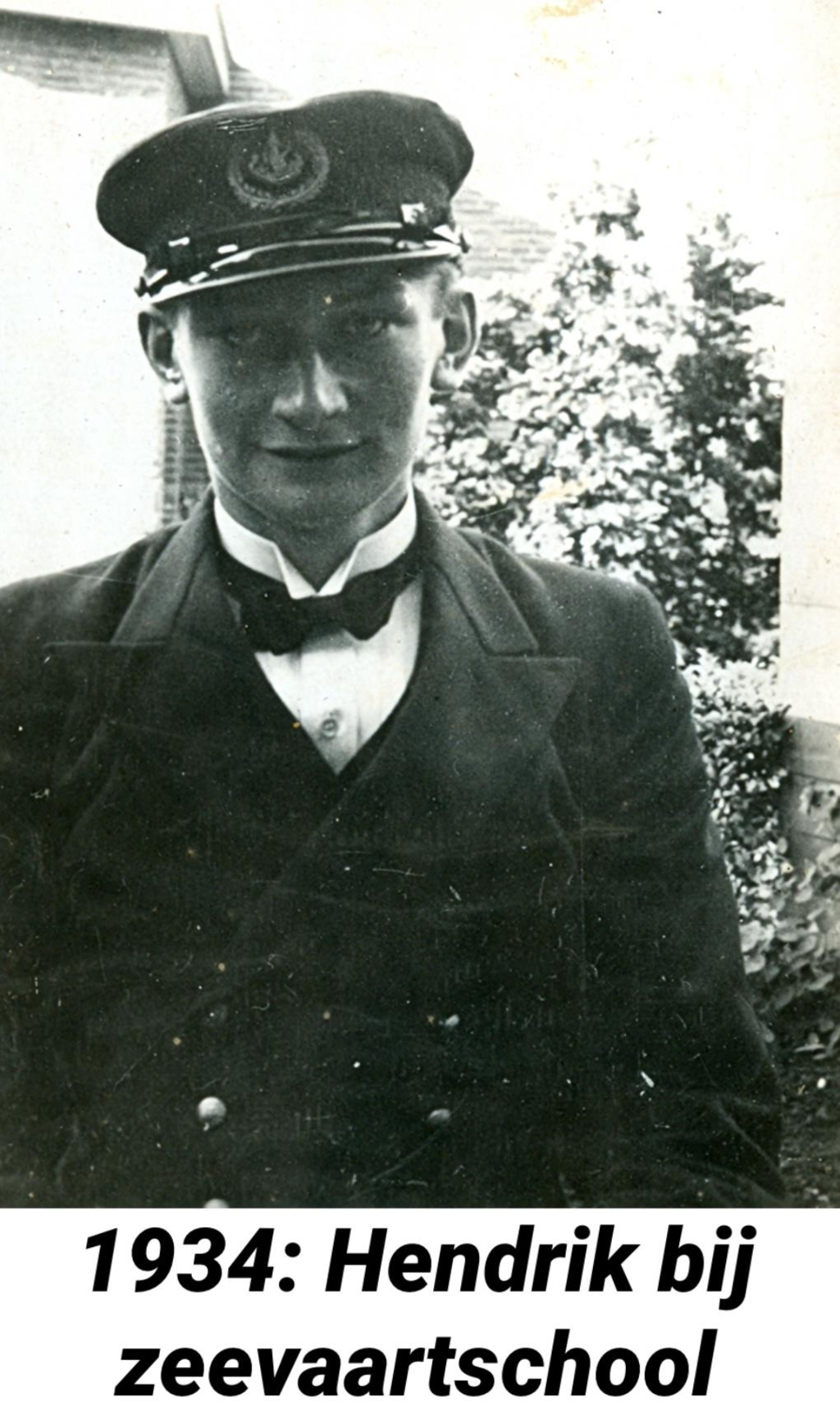<p>Hendrik bij zeevaartschool, 1934.</p> (Foto: ) © rodi