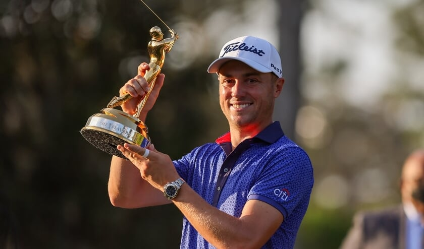 Justin Thomas als trotse winnaar van The Player Championship.