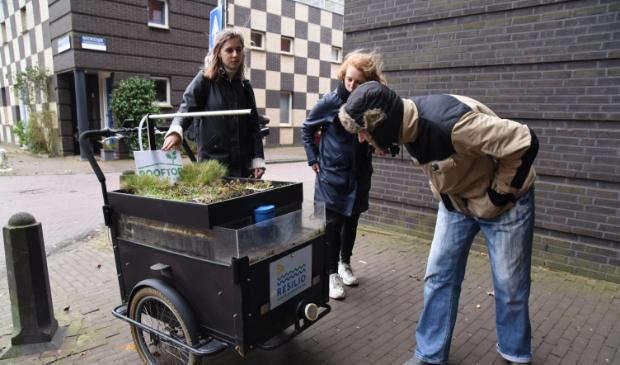 <p>Buurtbewoner van het Noorderhof bekijkt bij de dakfiets hoe het allemaal werkt. </p>