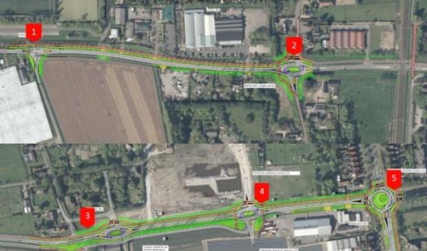 De reconstructie van de Vennewatersweg. Boven de kruispunten met de Lijnbaan (1) en de rotonder voor de Westerweg (2), beneden de aansluiting op de Hoogeweg (3) en de Haagbeuk (4) en de rotonde bij de Kennemerstraatweg (5).