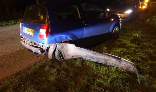 <p>Schade na een&nbsp;aanrijding bij de wegversmalling.</p>