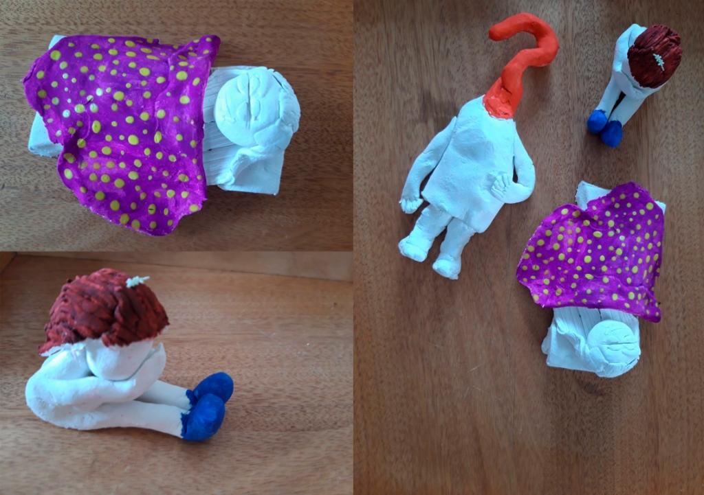 Naast de video en het gedicht maakte winnares Bodille deze kunstzinnige poppen. (Foto: aangeleverd) © rodi