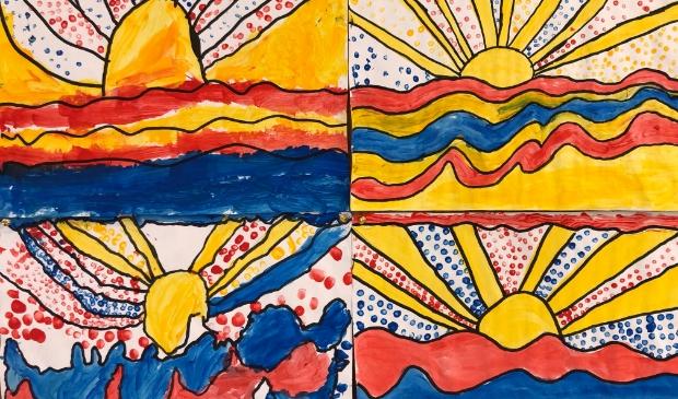 <p>Kunst van leerlingen van o.b.s. Herman Gorter.</p>