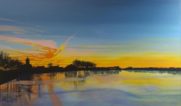 <p>Zonsopkomst Westerdijk/Visserseiland Hoorn. Met dit schilderij won Wendy de publieksprijs!</p>