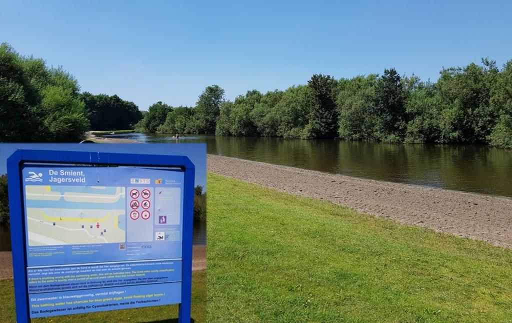 <p>Let op de blauwe borden of het veilig zwemwater is.&nbsp;</p> (Foto: Dirk Karten) © rodi