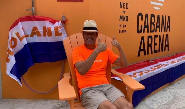 <p>Mattijs Kuijpers in de Cabana Arena. &quot;Ook bij ons is het bij elk EK of WK traditioneel een gekkenhuis.&quot;&nbsp;</p>