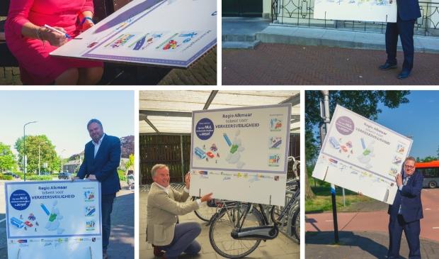 "<p pstyle=""PLAT"">Wethouders Verkeer en vervoer: Erik Bekkering (Bergen), Cecilia van Weel-Niesten (Uitgeest), Paul Slettenhaar (Castricum), Rob Opdam (Heiloo) en gedeputeerde Mobiliteit en Bereikbaarheid, Jeroen Olthof tekenen voor verkeersveiligheid.</p>"
