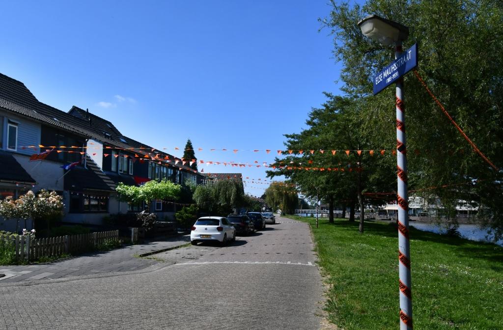 De Else Mauhstraat in Westerwatering in deels in oranjekleuren gehuld. (Foto: Dirk Karten) © rodi