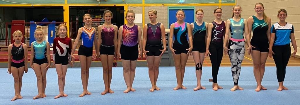 De acrogymnasten en hun trainster Noëlle de Vries. (Foto: aangeleverd) © rodi