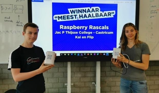 <p>&nbsp;Kai Deumers en Flip van Marle met hun winnende product.</p>