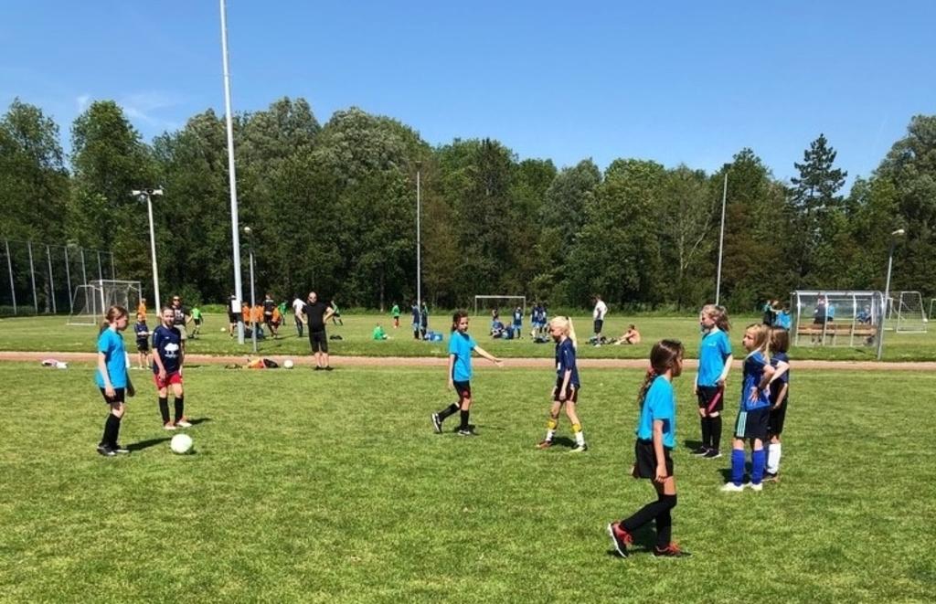 Aan het schoolvoetbaltoernooi doet ook een aantal meisjesteams mee: op de foto de teams van Zonnewijzer en de Familieschool. (Foto: Aangeleverd) © rodi