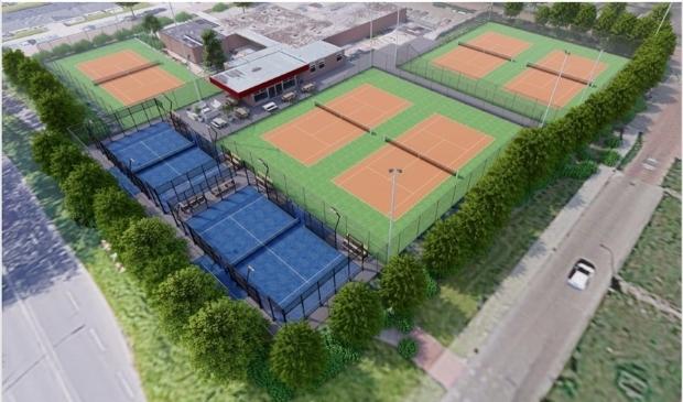 <p>Een impressie van hoe de padelbanen er komen uit te zien op de tennisclub.</p>